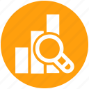 chart, control, finance, magnifier, report, search icon