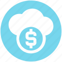 business, cloud, coin, dollar, fund, platform icon