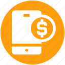 cell, coin, dollar, mobile, mobile banking, phone