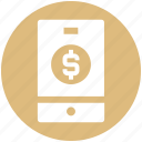cell, coin, dollar, mobile, mobile banking, phone icon