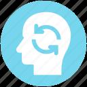 concept, head arrow, head with arrow, inducement, motivation, sync head icon