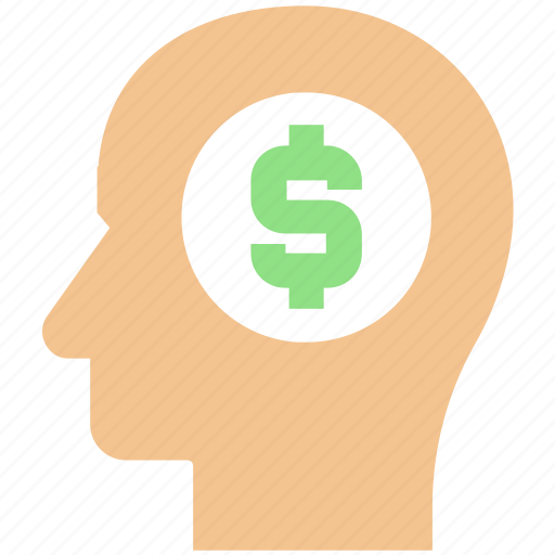 business, dollar, head, idea, investment, money icon