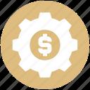 business, cog, dollar, gear, money, online, system icon