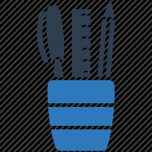 pen holder, pen pot, pencil, pencil box, pencil holder icon
