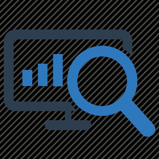 bar chart, data explore, find graph, report search, statistics icon