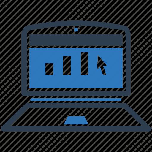 analytics, graph, laptop, online report icon