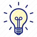 business, business idea, good idea, innovation, light bulb, office, thinking icon
