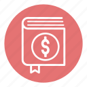 book, business, business book, checkbook, dollar, money, office icon
