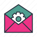 configuration, email, envelope, gear, mail, packet, setting icon icon