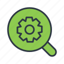 business, magnifier, search, setting, settings icon icon