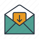 email, in, inbox, mail, message, recieve icon icon
