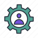 admin, gear, setting, user icon, woman icon icon