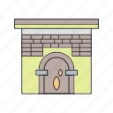 fire, house, in, work icon