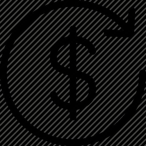 arrow, circle, dollar, dollar change, exchange, money, money exchange icon