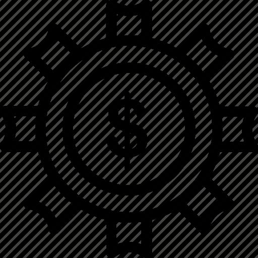 currency, dollar, management, money, optimization, settings, wheel icon