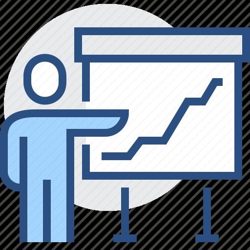 analysis, diagram, graph, presentation, presenter, report icon