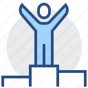 award, first, man, place, podium, winner icon
