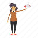 ads, announcement, employee, female, girl icon