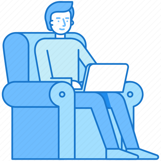 armchair, business, freelance, laptop, man, outsource, work icon