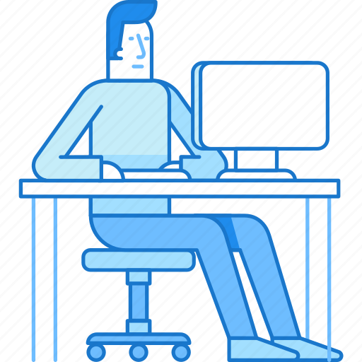 business, computer, guy, man, sitting, work icon