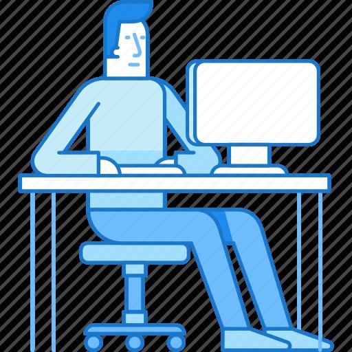 Business, computer, guy, man, sitting, work icon - Download on Iconfinder