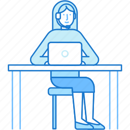 computer, customer, help, service, somsultant, support, woman icon