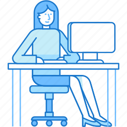 computer, freelance, job, office, woman, work icon