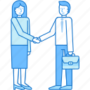 agreement, business, handshake, man, partner, teamwork, woman icon