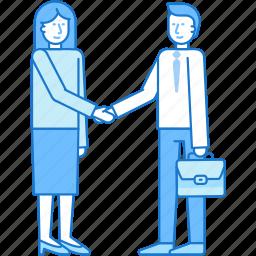 agreement, business, handshake, man, partner, teamwork, woman icon