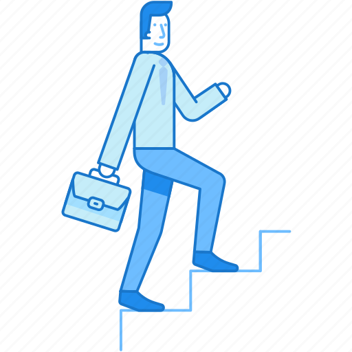 career, climb, growth, man, staircase, succees icon