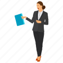 business woman, business woman avatar, female employee, woman office worker, young business character icon