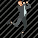 businessman celebrating achievement, businessman character, dancing businessman, successful business character, young businessman dancing icon