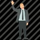 business character, businessman, businessman waving hand, entrepreneur, friendly businessman icon