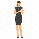 business character, businessman reading file, businessperson, female businesswoman, modern business woman icon