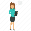 business people character, business woman avatar, business woman thinking, business woman with thinking bubble, sad business lady icon
