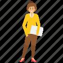 female employee holding files, female office employee, female worker, female worker avatar, office employee icon