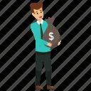business profit, businessman holding money bag, investor, rich businessman, wealthy businessperson icon