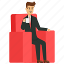 business person with coffee, businessman with coffee, male business avatar, stylish businessman, young business character