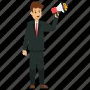 business announcement, businessman making announcement, marketing manager, professional announcement, public announcement icon