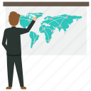 businessman with world map, global business, global business presentation, international business presentation icon