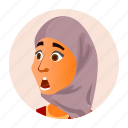 arab, business, emotion, expression, face, icon, woman icon