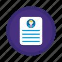 biography, cover letter, cv, portfolio, profile, resume icon