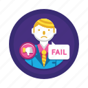 business fail, fail, failure, lose, loser icon