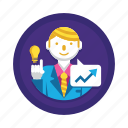 analysis, business goals, business idea, forecast, prediction icon
