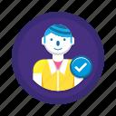 check, correct user, user icon