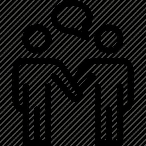 business, businessman, communication, conversation, discussion, talking icon icon