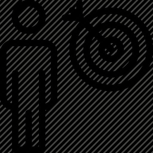 bullseye, business, dartboard, goal, man, person, target icon icon