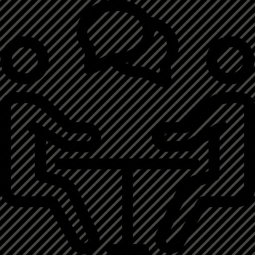 business, businessman, job interview, meeting, recruitment, talk, teamwork icon icon