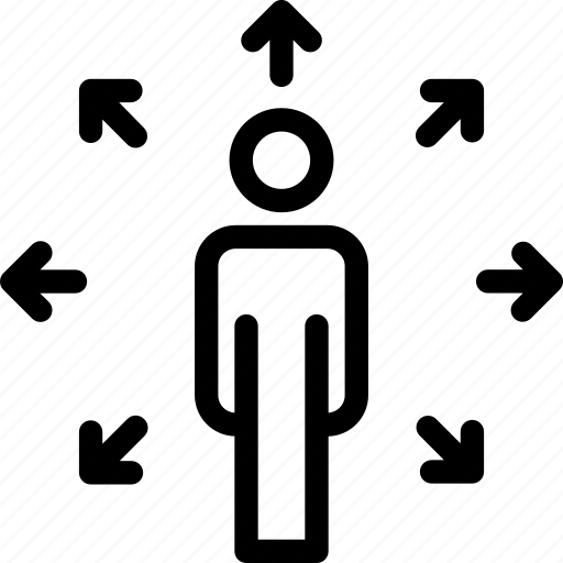 arrows, career, direction, opportunities, person icon icon