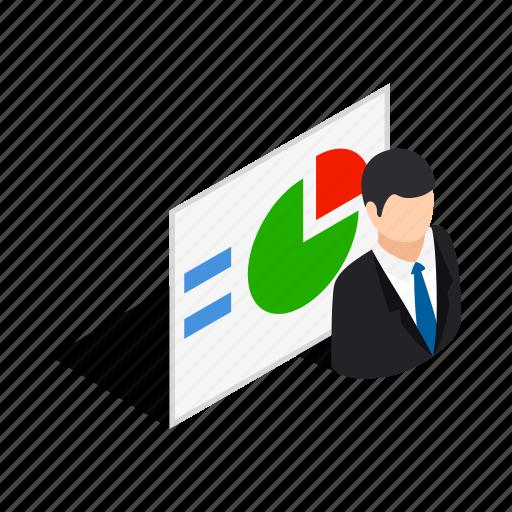 business, diagram, graph, isometric, man, progress, statistics icon